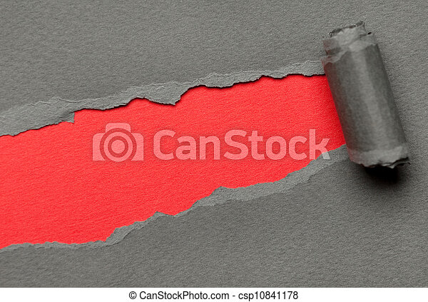 Torn grey paper with red space for message