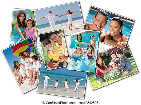 Happy Mother Father & Children Family Beach Park Home - csp10842805