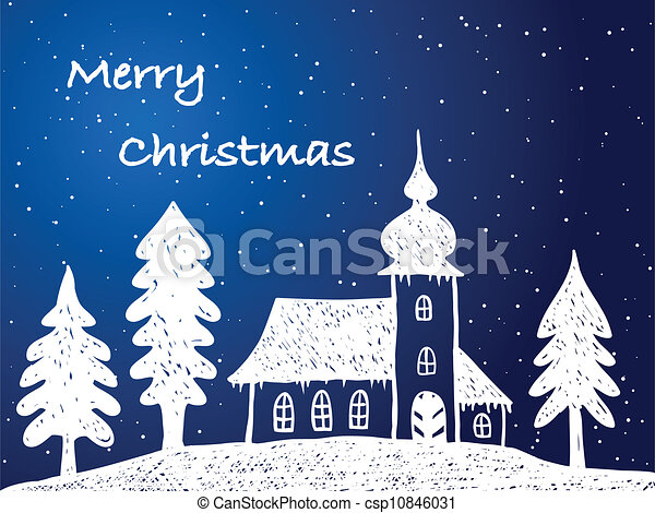 Christmas church with snow at night  - csp10846031
