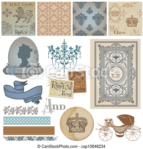 Scrapbook Design Elements - Vintage Royalty Set - in vector - csp10846234