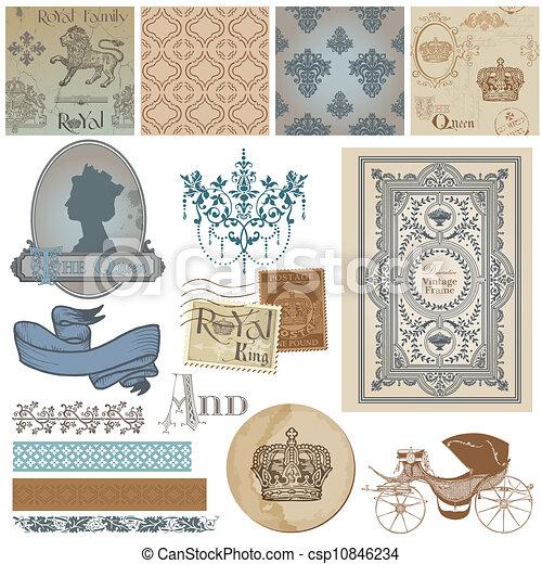 Scrapbook Design Elements - Vintage Royalty Set - in vector - csp10846234