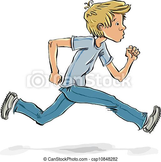 跑, 赶紧, 青少年, 男孩, 矢量, 卡通漫画, 漫画, 风格, 描述
