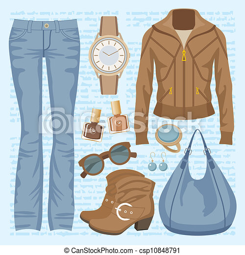 EPS Vectors of Fashion set with jeans and a jacket - Vector ...