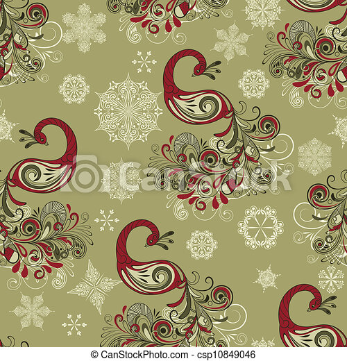 Vector Seamless Winter Pattern with Peacocks and Snowflakes - csp10849046