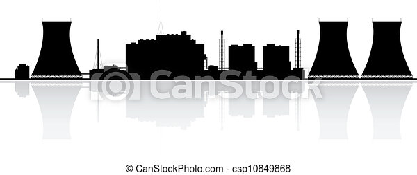Clip Art Vector of Nuclear Power Plant Silhouette ...
