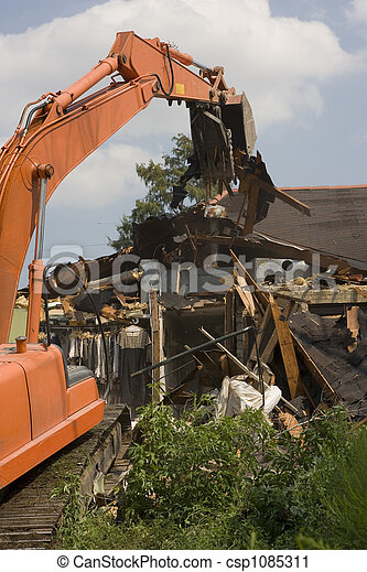 Flood Damaged home in New Orleans near the 17th Street Canal. - csp1085311