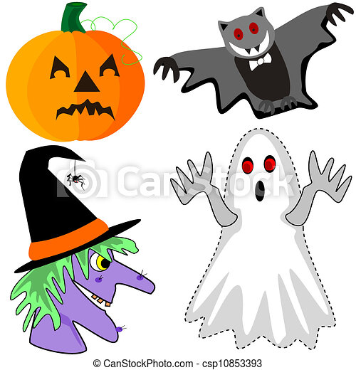 EPS vectores de calabaza, Murciélago, bruja, fantasma - caricatura ...