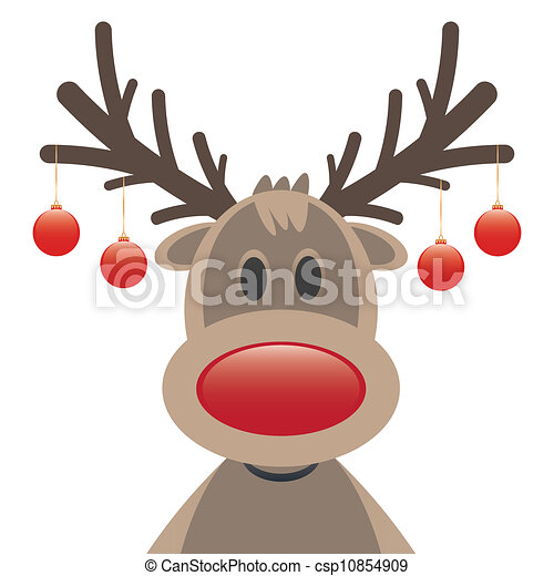 Vector Clipart of rudolph reindeer red nose christmas balls - rudolph ...