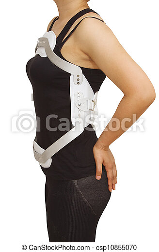 Lumbar jewet braces , hyperextension brace for back truma or fracture thoracic and lumbar spine on  isolated background - csp10855070