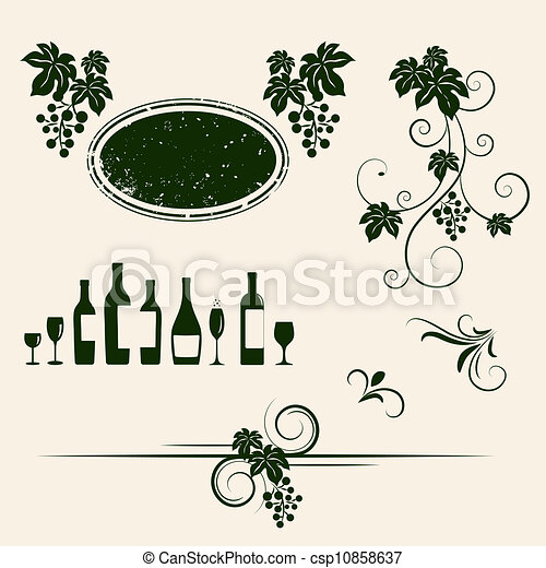 Winery design object silhouettes. - csp10858637