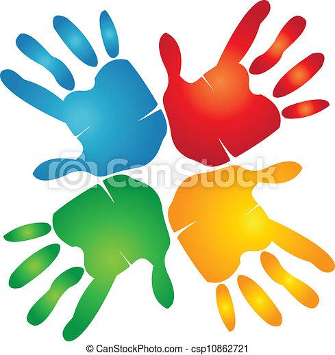 Teamwork hands around colorful logo - csp10862721