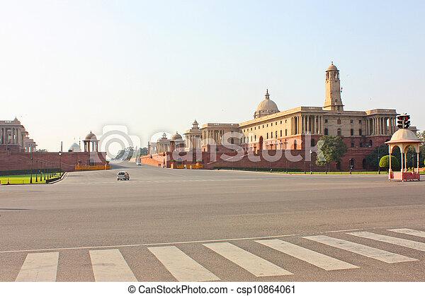 Indian Government buildings, Raj Path, New Delhi, India  - csp10864061