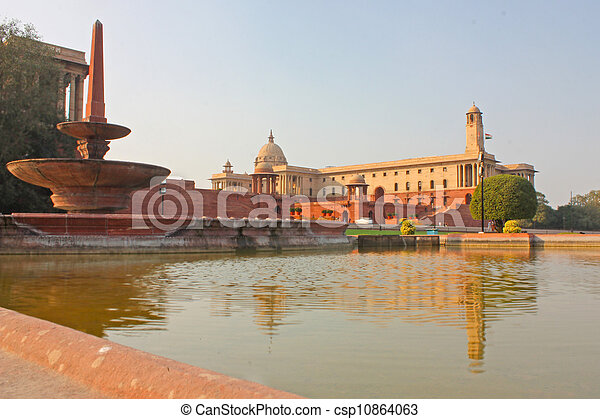 Indian Government buildings, Raj Path, New Delhi, India - csp10864063