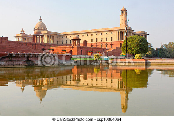 Indian Government buildings, Raj Path, New Delhi, India  - csp10864064