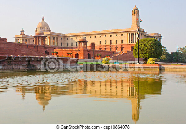 Indian Government buildings, Raj Path, New Delhi, India - csp10864078