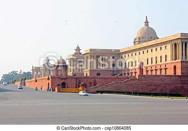Indian Government buildings, Raj Path, New Delhi, India - csp10864085