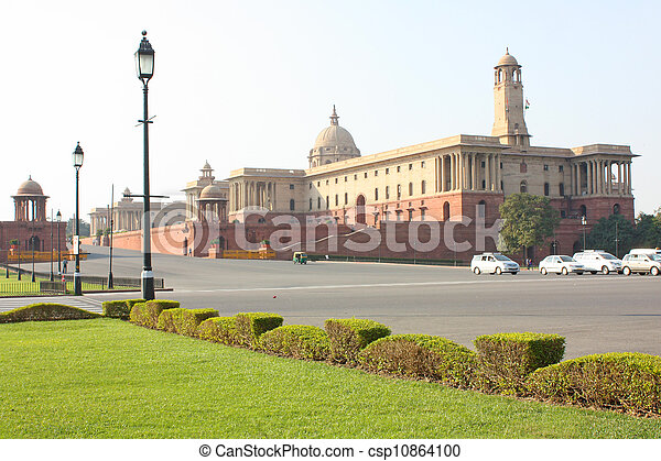 Indian Government buildings, Raj Path, New Delhi, India - csp10864100