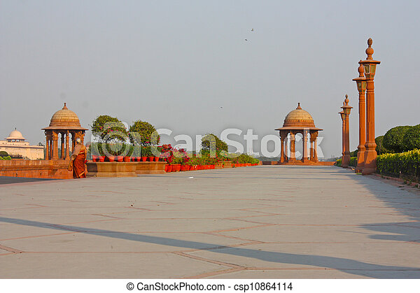 Indian Government buildings, Raj Path, New Delhi, India  - csp10864114