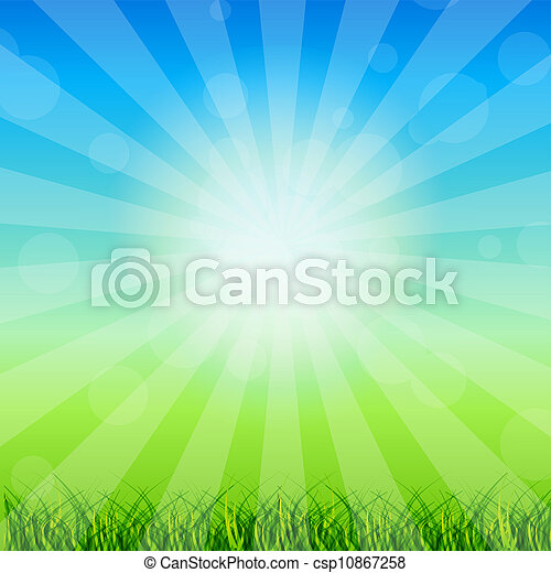 Summer Abstract Background with grass and chamomile against sunny sky. Vector illustration. - csp10867258