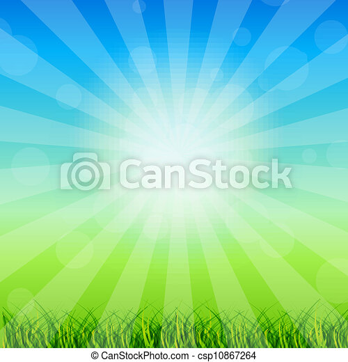Summer Abstract Background with grass and tulips against sunny sky. Vector illustration. - csp10867264