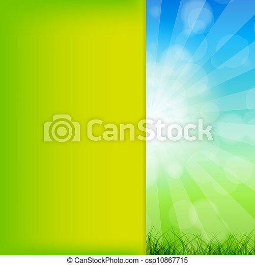 Summer Abstract Background with grass and chamomile against sunny sky. Vector illustration. - csp10867715