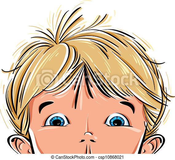Vector Illustration of Surprised cute little boy face. - Surprised ...