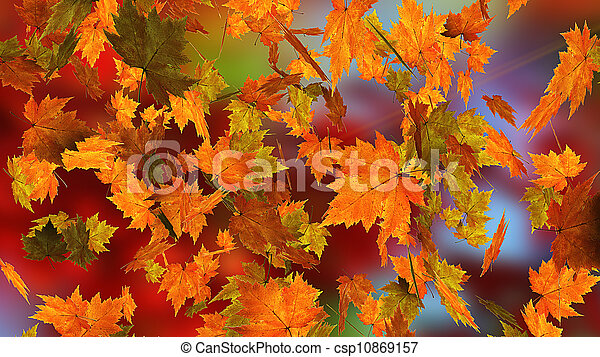 Autumn falling leaves - csp10869157