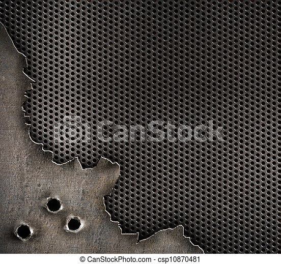 metal with bullet holes military background - csp10870481