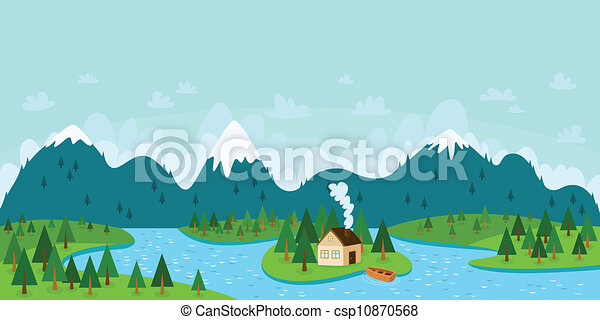 Landscape vector illustration with mountains, forest, river, island with house and boat - csp10870568