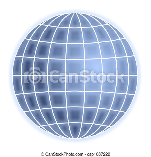 Clip Art of grid globe - abstract blue globe with grid ...