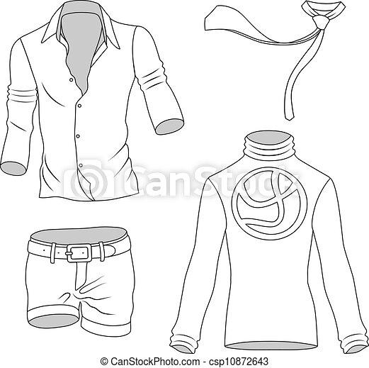 EPS vector de hombre, ropa, greyscale, Colección, aislado, blanco ...