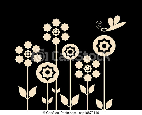 clipart of garden and dragonfly - illustration of white flowers on