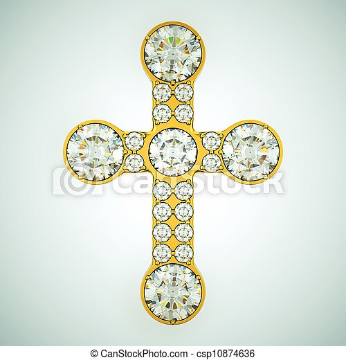 Religion and fashion: golden cross with diamonds - csp10874636