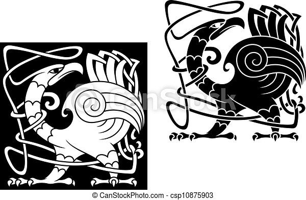 Angry bird in celtic style - csp10875903