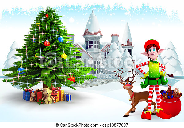 elves with christmas tree - csp10877037