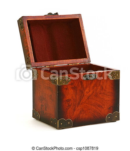 open antique wooden trunk - csp1087819