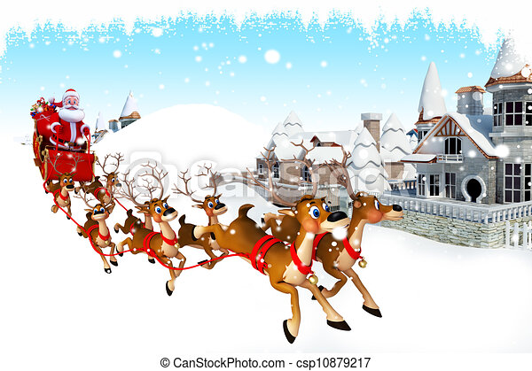 Clipart of santa claus with his sleigh - 3d art illustration santa ...