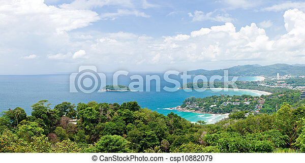 Panorama Aerial of Tropical beach Phuket Thailand - csp10882079