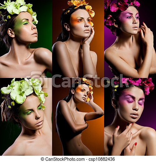 elegant fashionable woman with orchid - csp10882436