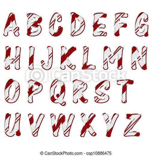 Image de no l bonbon canne couleur alphabet lettres - Alphabet de noel ...