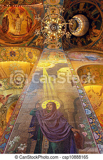 Interior of the Church of the Savior on Spilled Blood in St. Petersburg, Russia - csp10888165