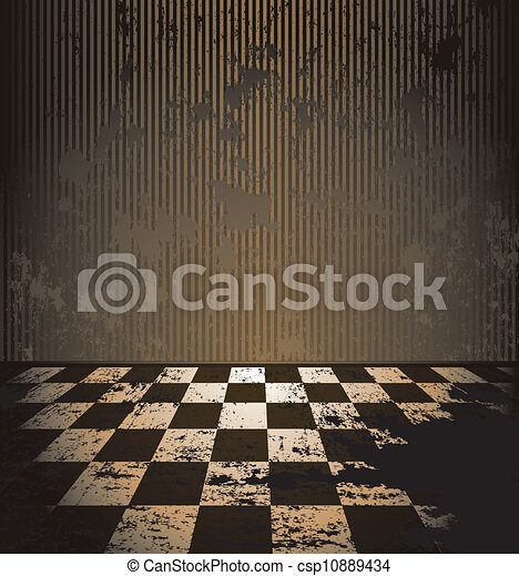 Vectors Of Dirty Room With Checkered Floor Abandoned