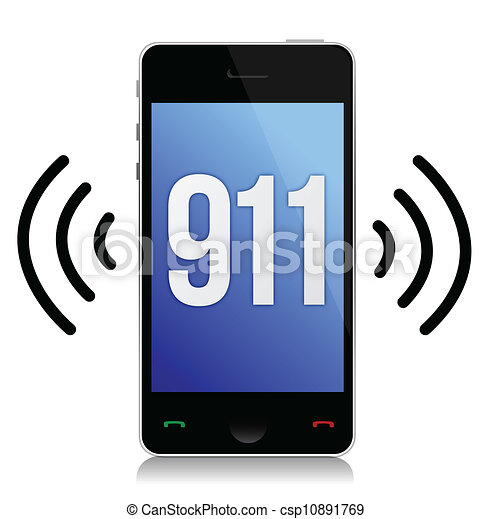 Emergency number 911 call illustration design over white - csp10891769