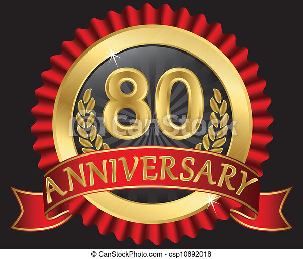 Vector Clip Art of 80 years anniversary golden label with ribbons ...