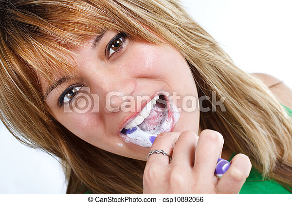 Brushing teeth - csp10892056