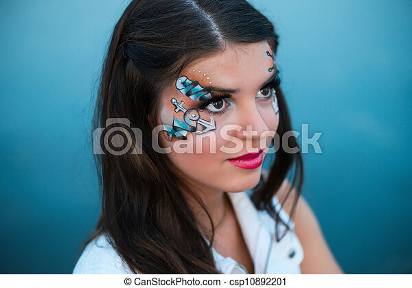beau, marin, femme, jeune, maquillage