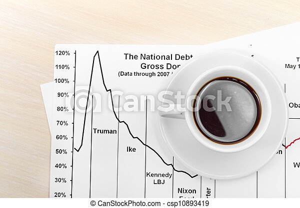 Accounting. Cup of coffee on document. chart and diagram - csp10893419