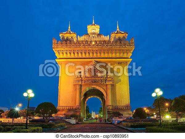 Patuxai Monument, Vientiane, Laos. - csp10893951