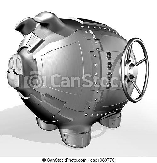 Steel piggy bank - csp1089776