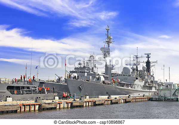 Flagship military ship in gulf. - csp10898867